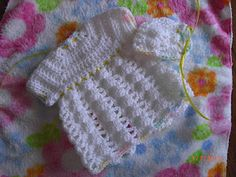 Angel Dress & Hat for Preemies #2 & #3 free crochet pattern
