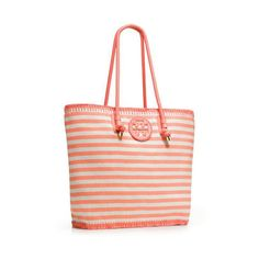 Tory Burch Oversized Stripe Tote - Whether you're headed to the beach for a wild spring break party or strutting your stuff to the office, the Tory Burch Oversized Stripe Tote is for you. This bag is roomy and chic, guaranteeing that your daily necessities are accounted for. - Found at myWebRoom.com