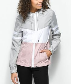 Keep it stylish even when the bad weather hits with the Zuri mauve, grey and white color blocked windbreaker jacket from Zine. This trendy design offers lightweight protection from the elements and comes equipped with an adjustable drawstring hood as we Cute Raincoats, Raincoats For Women, Jackets For Women, Clothes For Women, Women's Jackets, Black Rain Jacket, Rain Jacket Women, Sporty Outfits, Outfits For Teens