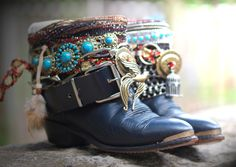 black boho upcycled boots from Thelookfactory on Etsy