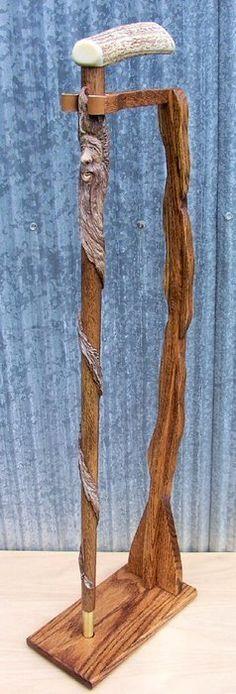 Handcarved Folk-Art Walnut Smiling Wood Spirit Walking Cane with Elk Antler Handle & Scrimshaw Art