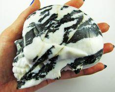 LARGE BLACK AND WHITE JASPER GEMSTONE SKULL BU380 Skull Carving skull, gemstone skull carving, skull gemstone, crystal gemstone,mayan skull,