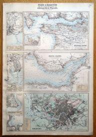 PORTS & HARBOURS SW COAST UK,BRISTOL,SWANSEA, CARDIFF Fullarton antique map c1865