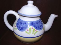 CALECA SORRENTO TEAPOT WITH HANDPAINTED  FLOWERS BLUE YELLOW PINK