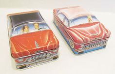 IAN-LOGANS-CARLECTABLES-TIN-CAR-AUTOMOBILE-STORAGE-CONTAINER-PAIR-1982-ENGLAND
