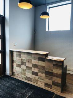 Custom maple reception desk by Rustix Studio Live Edge Furniture, Furniture Design, Reception, Desk, Studio, Products, Art, Cafe Design, Wood