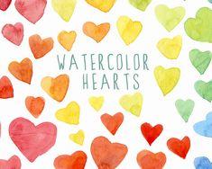 Digital Clipart Watercolor Hearts Hand Painted by SwiejkoForPrint, $6.00