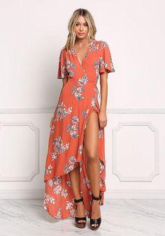 Rust Crepe Floral Wrap Maxi Dress - Midi and Maxi - Dresses