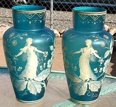 B.OFFER ART DECO GLASS VASE PAIR CAMEO STEVENS WEBB BOHEMIAN 13X7 MARY GREGORY