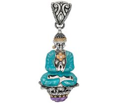Barbara Bixby Sterling & 18K Buddha & Amethyst Enhancer J324669