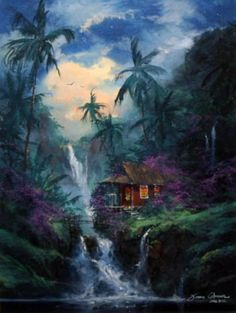 "Original Painting ""Hana Paradise, Hawaii"" by James Coleman Fantasy Landscape, Fantasy Art, Kinkade Paintings, Disney Background, Hawaiian Art, Fantasy Places, Pokemon, Tropical Paradise, Nature Pictures"