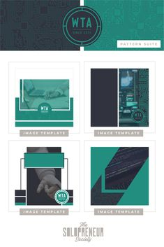 A bite-sized taste of the easy-to-edit social media templates I created for Wisconsin Technology Association. Tap some love on this pin to drool over the entire custom brand identity suite we created for them, including #fonts, #colors, #logos, #submarks, #pattern designs, and #icons. The Solopreneur Society, www.thesolopreneursociety.com