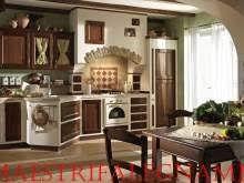 Cucine in finta muratura - Cucina nera e bianca