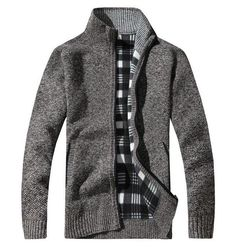 2018 Mens Wool Cardigan Sweaters Men'S Thick Stand Collar Pullover Full Sleeves Slim Solid Mens Sweaters Coffee L Wool Cardigan, Mandarin Collar, Jackets Online, Shirt Jacket, Streetwear Fashion, Sleeve Styles, Outerwear Jackets, Zip Ups, Gender