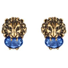 Gucci Lion Head Earrings With Crystals ($380) ❤ liked on Polyvore featuring jewelry, earrings, blue, fashion jewellery, for women, jewellery & watches, blue jewelry, gucci jewelry, gucci jewellery and lion head jewelry