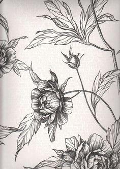Tapete Eco Rose col.01 | Blumentapete in den Farben schwarz-weiß | Grundton weiß-silber
