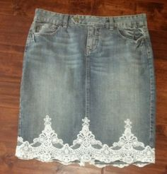 The Limited Lace Trimmed Embellished Hem Denim Jean Skirt 10 EUC Knee Length #TheLimited #StraightPencil
