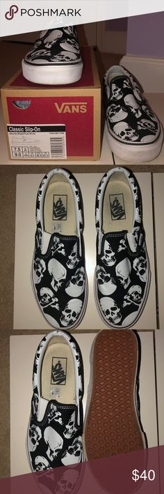 8a4fe38cee2 Vans (Skulls) Black True White Worn once or twice. Slightly scuffed.