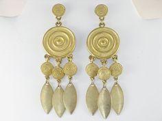 Vintage Long Dangling Gold Tone Pierced by delightfullyvintage