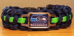 Seattle Seahawks paracord bracelet with rectangle charm.  $11.00