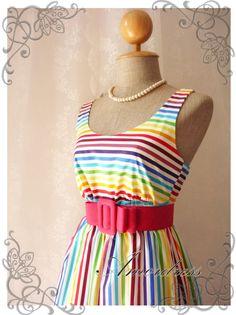 Rainbow spectrum - Popping Summer Dress Indigo Stripe Dress Party Popping Tea Dress Party Event Everyday Dress White Shade Round Neck -S-M-. $39.00, via Etsy.