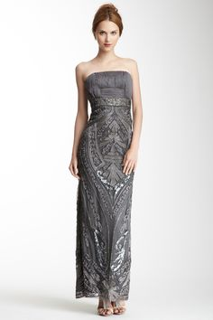 Sue Wong Strapless Embroidered Dress <3