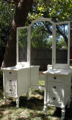 Vintage Vanity Desk Nightstands White Paint by HarrisMarksHome, $400.00