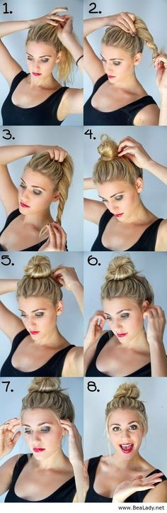Bun hairstyle for medium length hair