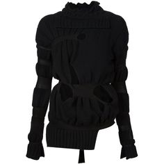 Helen Lawrence Cut-Out Sweater ($1,109) ❤ liked on Polyvore featuring tops, sweaters, black, black top, cutout sweater, black cut out top, cut out sweater und cut-out tops