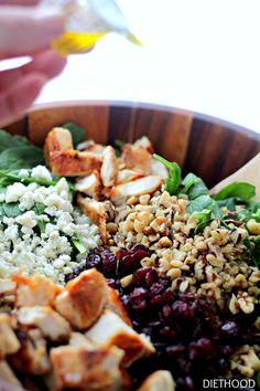 Cherry Walnut Chicken Salad: Delicious chicken salad featuring dried cherries, walnuts and baby spinach tossed with an oil-and-vinegar dressing.