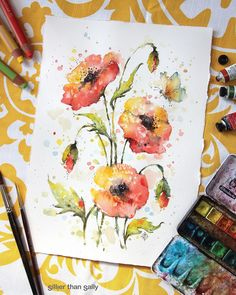 Water colour flower art by Australian artist Sillier Than Sally Watercolor Poppies, Abstract Watercolor, Watercolor And Ink, Watercolour Painting, Painting & Drawing, Red Poppies, Watercolors, Watercolor Christmas Cards, Watercolor Projects