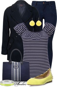 """Navy  Yellow"" by stay-at-home-mom ❤ liked on Polyvore"