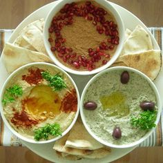 Middle Eastern Dips (Baba Ghanouj, Muhammara and Hummus). Middle East Food, Middle Eastern Dishes, Middle Eastern Recipes, Lebanese Recipes, Turkish Recipes, Greek Recipes, Appetizer Recipes, Snack Recipes, Cooking Recipes