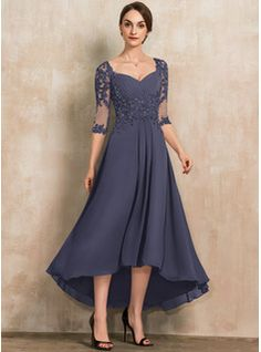 A-Line Sweetheart Asymmetrical Chiffon Lace Mother of the Bride Dress With Beading Sequins - JJ's House Mother Of The Bride Dresses Long, Mother Of Bride Outfits, Mothers Dresses, Formal Dresses With Sleeves, Elegant Dresses, Vestidos Fashion, Fashion Dresses, Evening Dresses For Weddings, Mode Chic