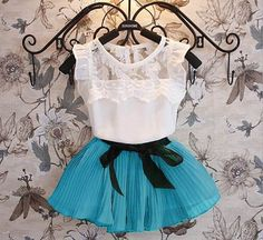 Wholesale Girls Sets Summer Lace T-shirts+Chiffon Skirts 2 Sets Children Clothing 2-7T T166