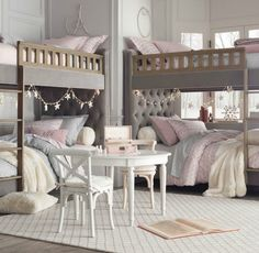 Chesterfield upholstered full-over-full bunk bed - Restoration Hardware baby & child.