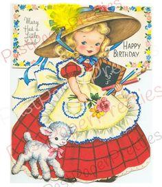 Happy Birthday Mary had a little lamb Vintage Birthday Cards, Kids Birthday Cards, Vintage Greeting Cards, Vintage Valentines, Vintage Postcards, Vintage Images, Art Birthday, Birthday Quotes, Happy Birthday Mary