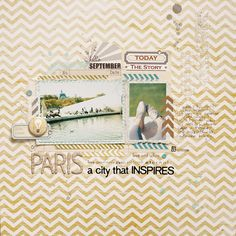 Paris - a city that inspires by ania-maria at Studio Calico Scrapbook Paper Crafts, Scrapbook Cards, Scrapbook Page Layouts, Scrapbooking Ideas, Scrapbook Designs, Wood Stamp, Studio Calico, Travel Scrapbook, Layout Inspiration