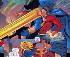 Superboy vs Supergirl   Power Girl and Supergirl Kiss