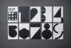 "By Estudio Ibán Ramón titled ""We Love Geometry"". The set consists of nine cards with unique geometrical renditions of the numbers one through nine. The cards fold out into posters and we discover that the numbers are part of a larger design. I like how this project works on two levels and features such bold black and white geometry and typography. Love how each number is given its own personality!"