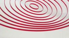 Elias Crespin, Circuconcéntricos Rojo Transparente, 2013 Plexiglas, nylon, motors, computer, electronic interface 100 cm diameter  On view at the Fundació Stämpfli, Sitges - Barcelona (Spain) through October 27, 2013.  Video by Pascal Maillard
