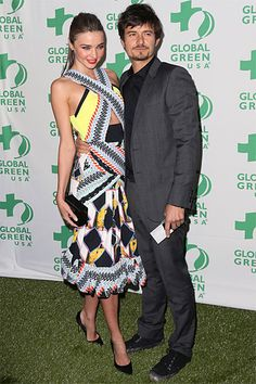 Miranda Kerr in Peter Pilotto and Orlando Bloom at Global Green's 10th Anniversary Pre-Oscars Party