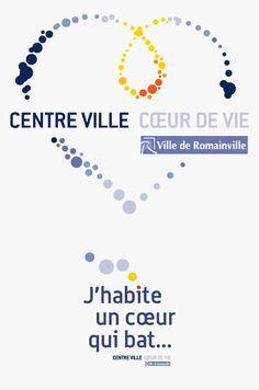 """Ville de Romainville : logos """"Centre ville / coeur de vie"""" et """"J'habite un coeur qui bat"""" © Sous Tous les Angles"""