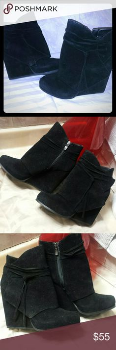 "BCBG BOOTIES! Black ankle boots Suede Barely worn ankle boots.. heel is 5"" these are suede and very cute.. BCBGengeration Brand ""Loralei"" still with its original box. Make a good offer! BCBGeneration Shoes Ankle Boots & Booties"