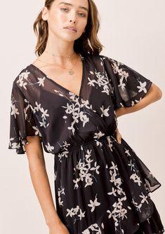 Floral Tops, Floral Prints, All Black Fashion, Bohemian Chic Fashion, Boho Dress, Cold Shoulder Dress, Feminine, Ruffle Trim, Mid Length
