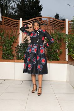 Your place to buy and sell all things handmade Latest African Styles, Knee Sleeves, Black Midi Dress, African Fashion, Cool Outfits, Cold Shoulder Dress, Stylish, Midi Dresses, How To Wear