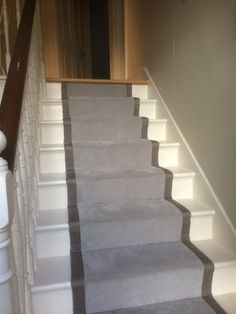 Client: Private Residence In West London Brief: To supply & install carpet as a runner with black border to stairs