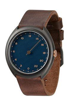slow O 14 - Dark Brown Vintage Leather Anthracite Case Blue Dial Unisex Quartz…