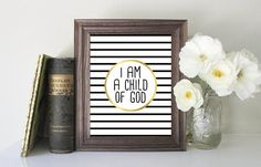 I am a Child of God Print // Instant Download // Printing Services Available // Faux Gold // Nursery Print // Digital Download // Custom