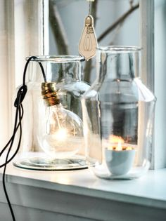 Bulb lamp in a glass jar Interior Natural, Diy Interior, Interior Styling, Interior Decorating, Interior Design, Home And Deco, My New Room, Home Lighting, Lighting Stores
